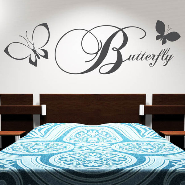 butterfly schmetterling schriftzug wandtattoo. Black Bedroom Furniture Sets. Home Design Ideas
