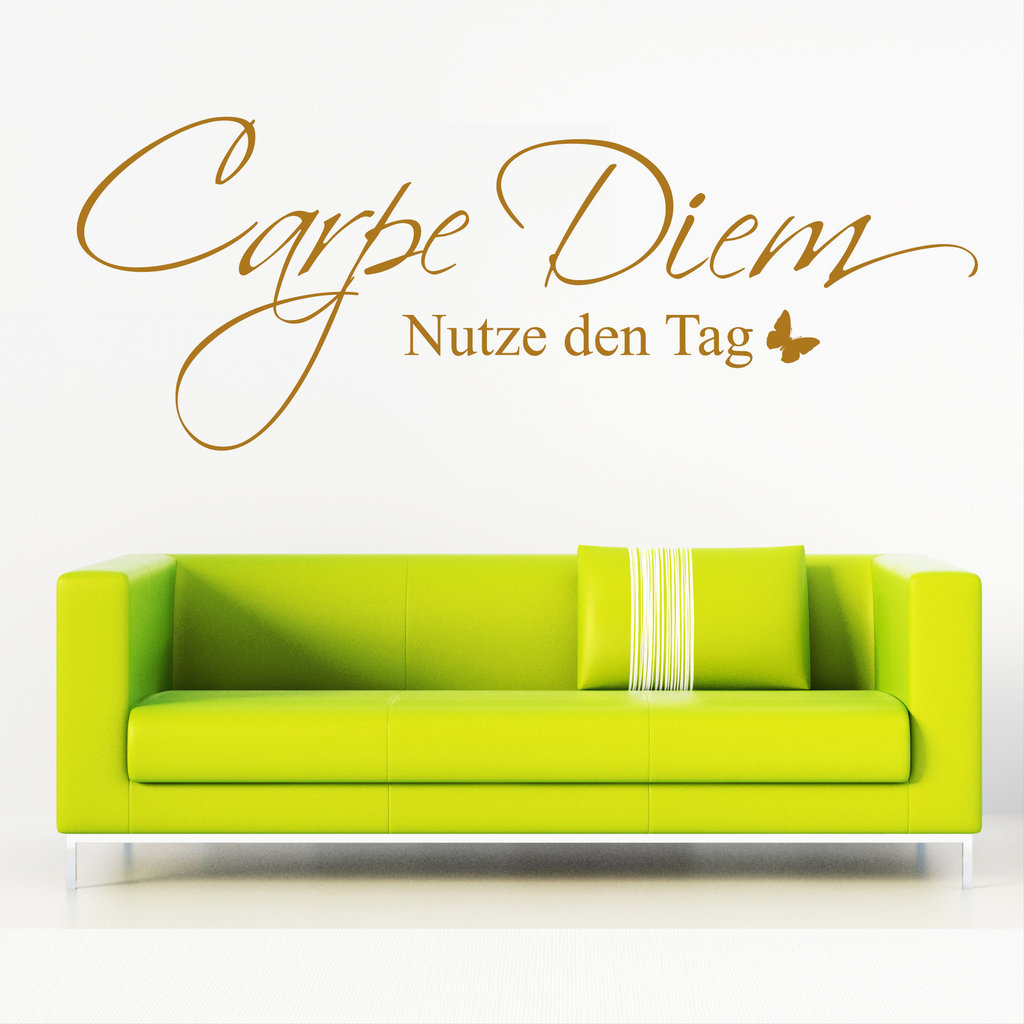 carpe diem nutze den tag schriftzug wandtattoo. Black Bedroom Furniture Sets. Home Design Ideas