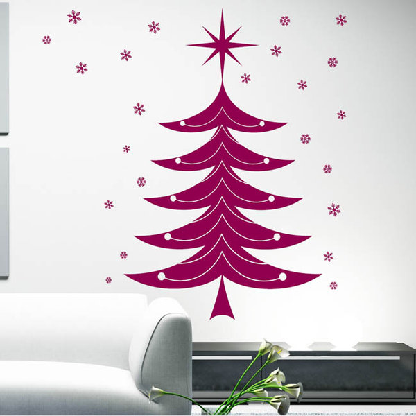 weihnachtsbaum schneeflocken stern wandtattoo. Black Bedroom Furniture Sets. Home Design Ideas