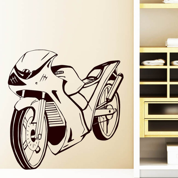 motorrad bike biker wandtattoo. Black Bedroom Furniture Sets. Home Design Ideas