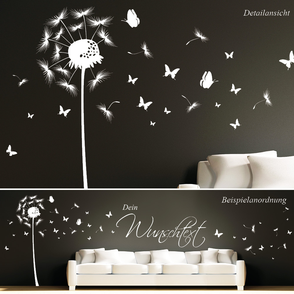 pusteblume schmetterling mit wunschtext wall decal. Black Bedroom Furniture Sets. Home Design Ideas