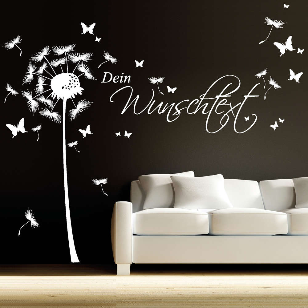 wandtattoo pusteblume mit wunschtext reuniecollegenoetsele. Black Bedroom Furniture Sets. Home Design Ideas