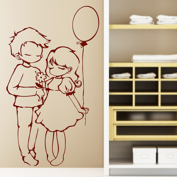 verliebt ballon m dchen junge mit blume wandtattoo. Black Bedroom Furniture Sets. Home Design Ideas