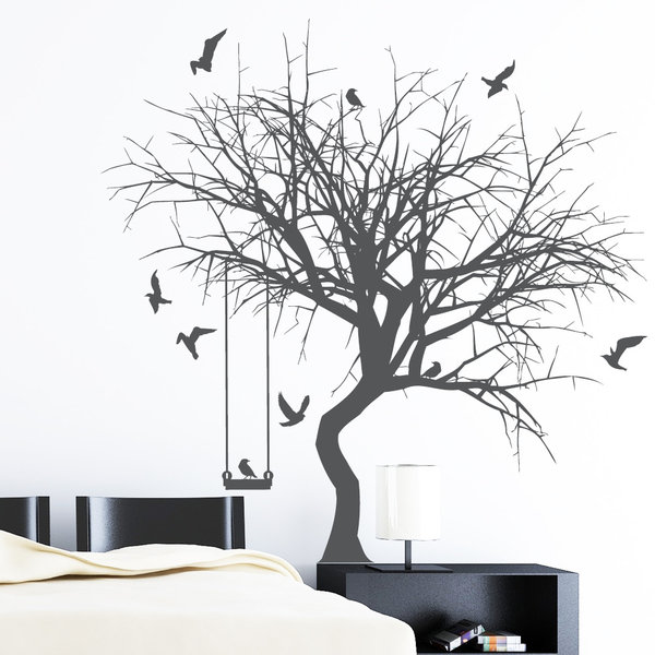 baum mit schaukel und v geln wandtattoo. Black Bedroom Furniture Sets. Home Design Ideas