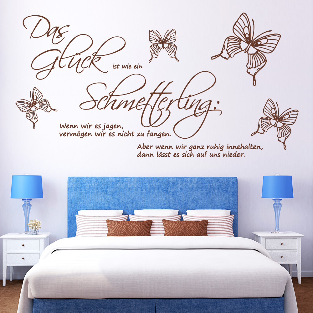 zitat das gl ck ist wie ein schmetterling wall decal. Black Bedroom Furniture Sets. Home Design Ideas