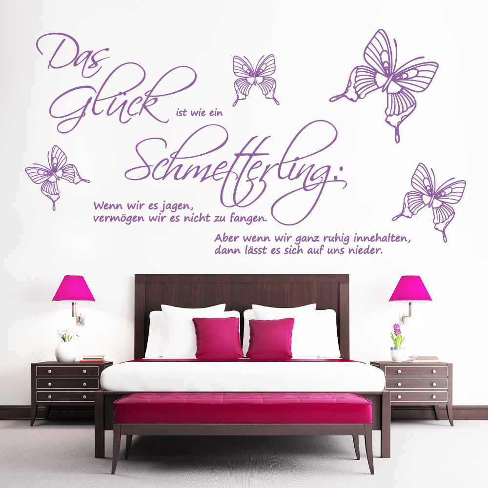 zitat das gl ck ist wie ein schmetterling wandtattoo. Black Bedroom Furniture Sets. Home Design Ideas