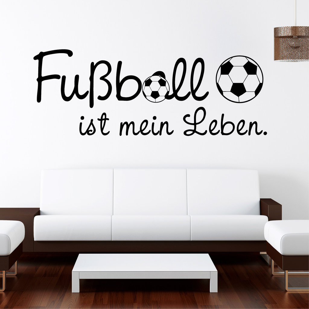 wandtattoo fussball ist mein leben ab 20 90 fu ball fusball 10272 ebay. Black Bedroom Furniture Sets. Home Design Ideas