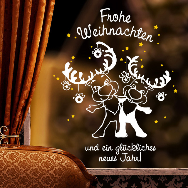 fensteraufkleber elche frohe weihnachten 2farbig. Black Bedroom Furniture Sets. Home Design Ideas