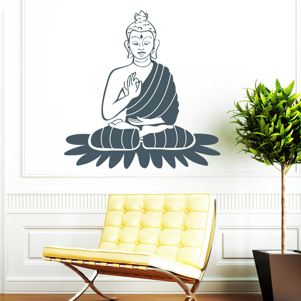 buddha statue wandtattoo. Black Bedroom Furniture Sets. Home Design Ideas