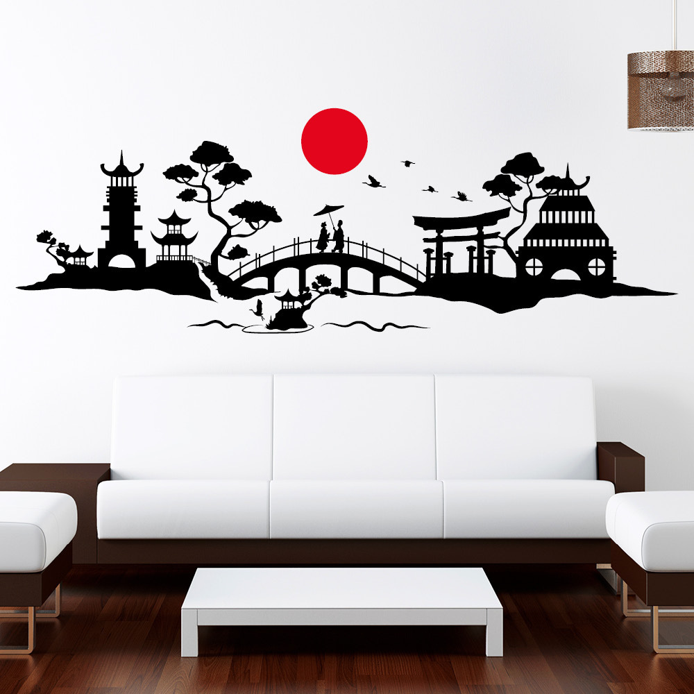 asia skyline wandtattoos. Black Bedroom Furniture Sets. Home Design Ideas