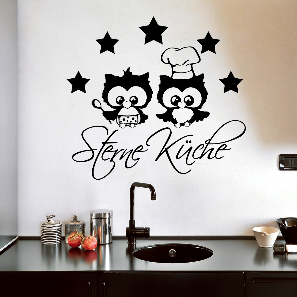 5 sterne k che und eulenk che wall decal. Black Bedroom Furniture Sets. Home Design Ideas