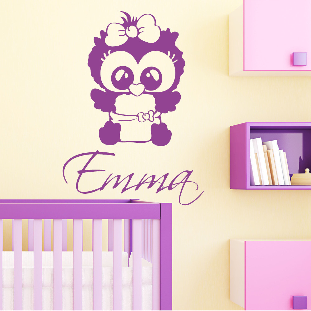 baby eulen m dchen mit wunschnamen wandtattoo. Black Bedroom Furniture Sets. Home Design Ideas