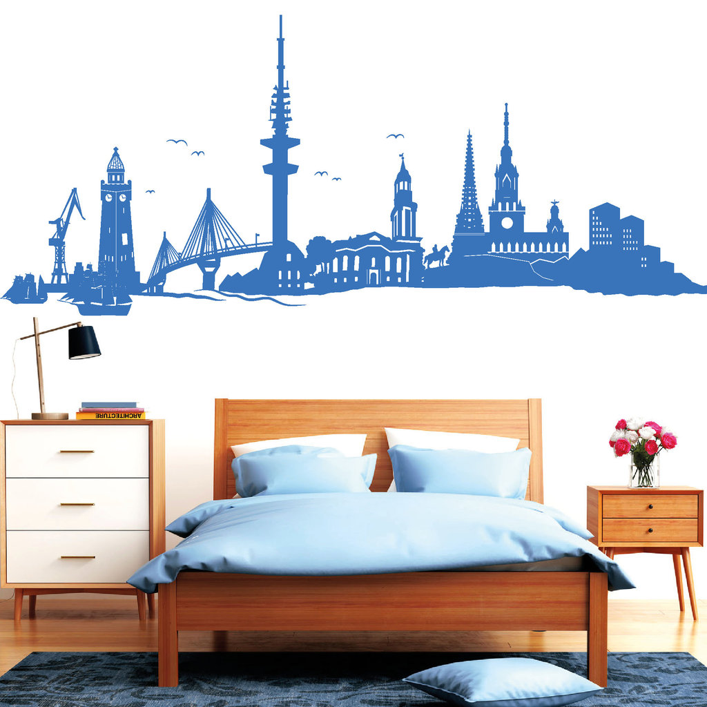 hamburg skyline wandtattoos. Black Bedroom Furniture Sets. Home Design Ideas