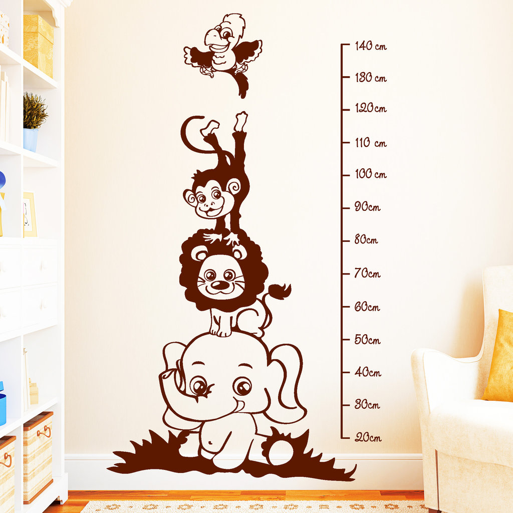 Wandtattoo messlatte zootiere for Deko wand kinderzimmer