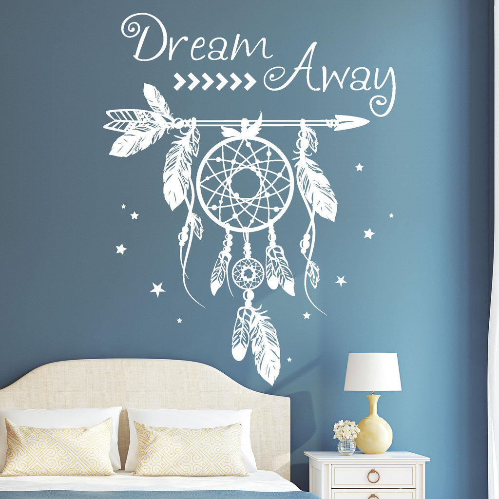 10812 wandtattoo loft aufkleber traumf nger dreamcatcher dream away hippie ebay. Black Bedroom Furniture Sets. Home Design Ideas
