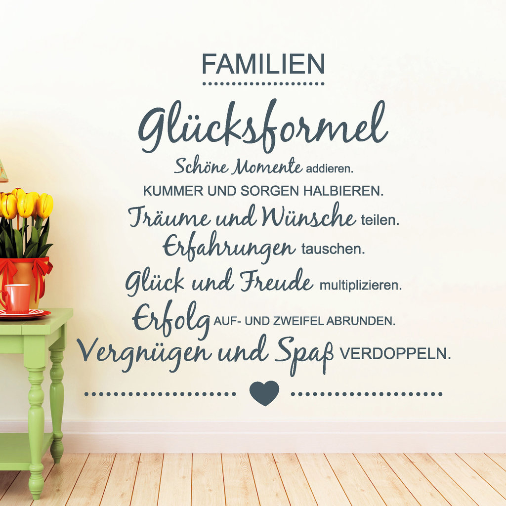 familien gl cksformel wandtattoo. Black Bedroom Furniture Sets. Home Design Ideas