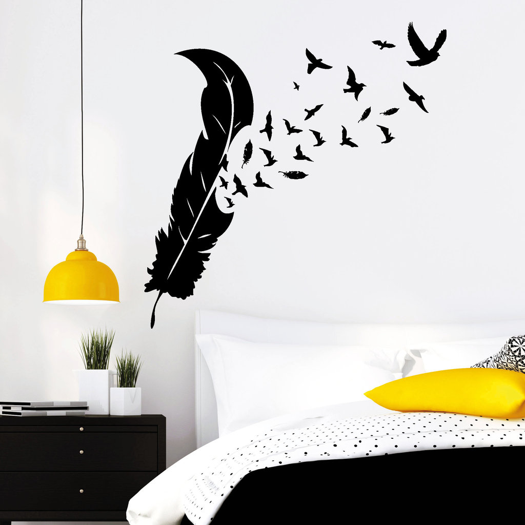 feder mit v geln wandtattoo. Black Bedroom Furniture Sets. Home Design Ideas