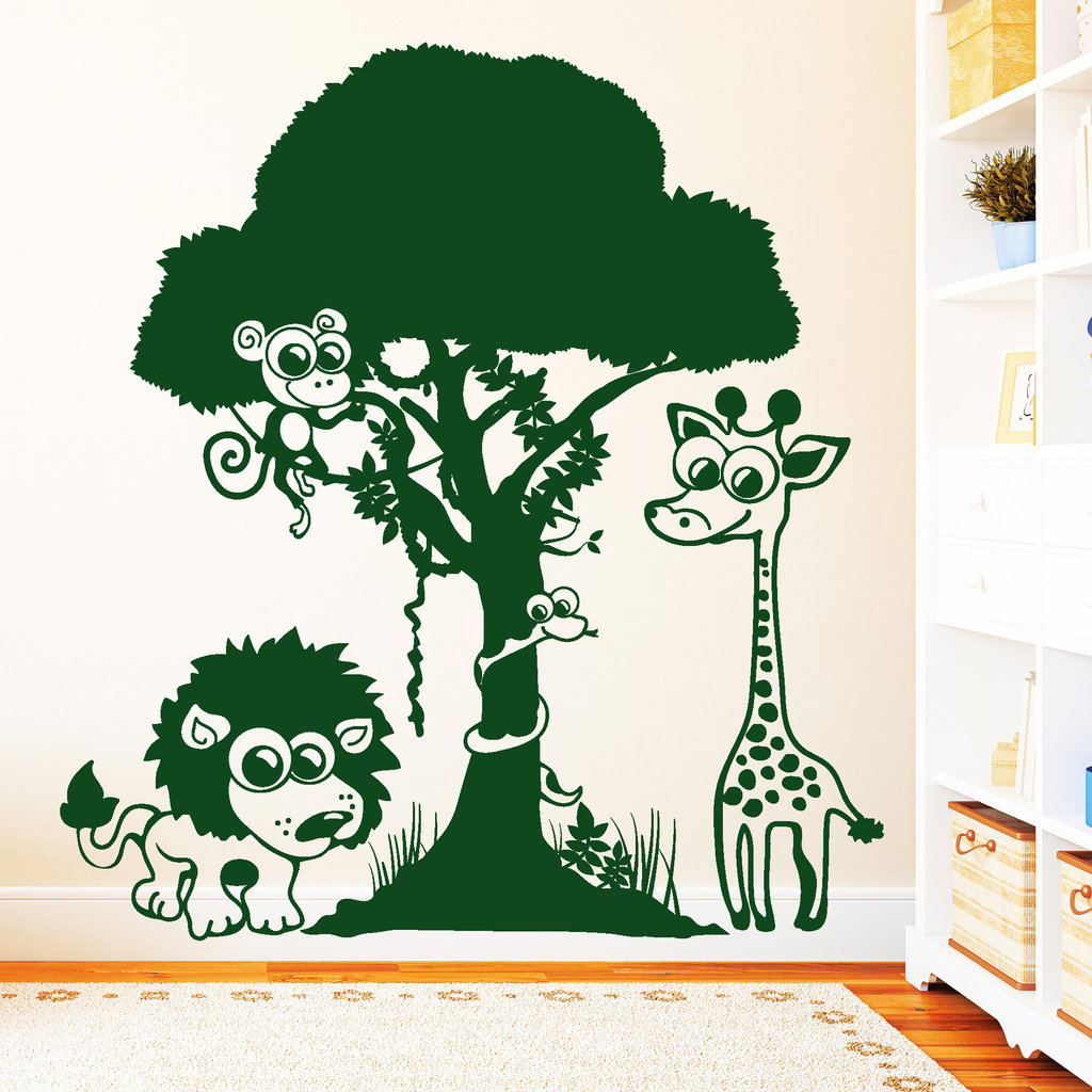 10900 wandtattoo dschungel tiere l we affe giraffe schlange safari kinderzimmer ebay. Black Bedroom Furniture Sets. Home Design Ideas