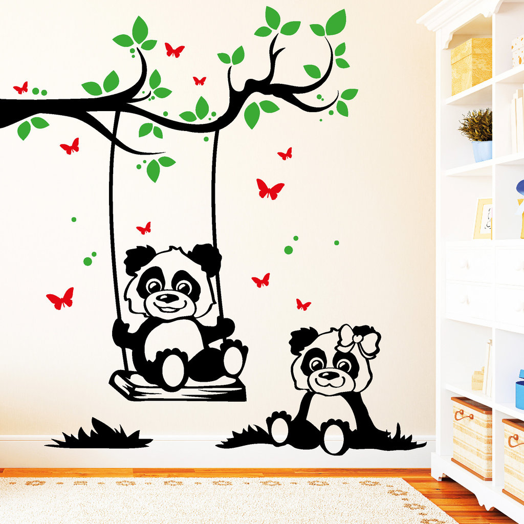 10885 wandtattoo loft panda schaukel am ast mit schmetterlingen 3farbig ebay. Black Bedroom Furniture Sets. Home Design Ideas