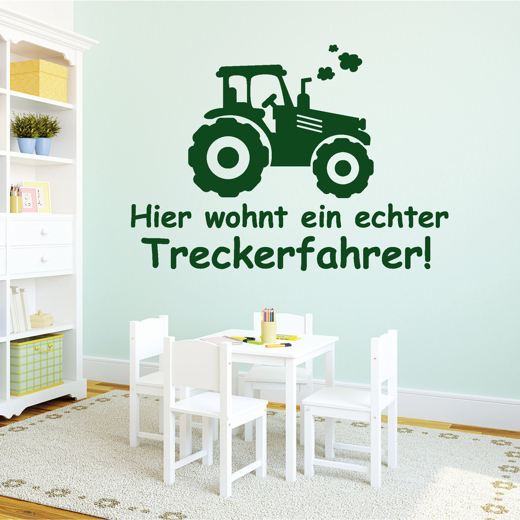 hier wohnt ein echter treckerfahrer wandtattoos. Black Bedroom Furniture Sets. Home Design Ideas