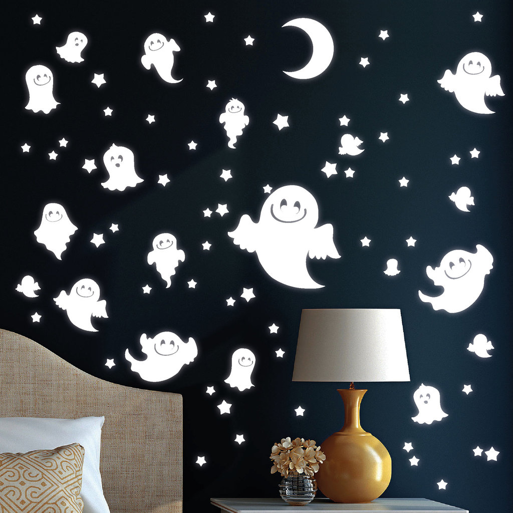 10969 wandtattoo loft leuchtaufkleber geister gesicht sterne mond fluoreszierend ebay. Black Bedroom Furniture Sets. Home Design Ideas