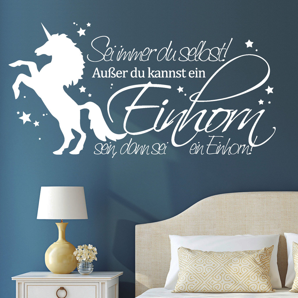 wandtattoo aufkleber einhorn spruch zitat schriftzug pferd sterne 10942 unicorn ebay. Black Bedroom Furniture Sets. Home Design Ideas