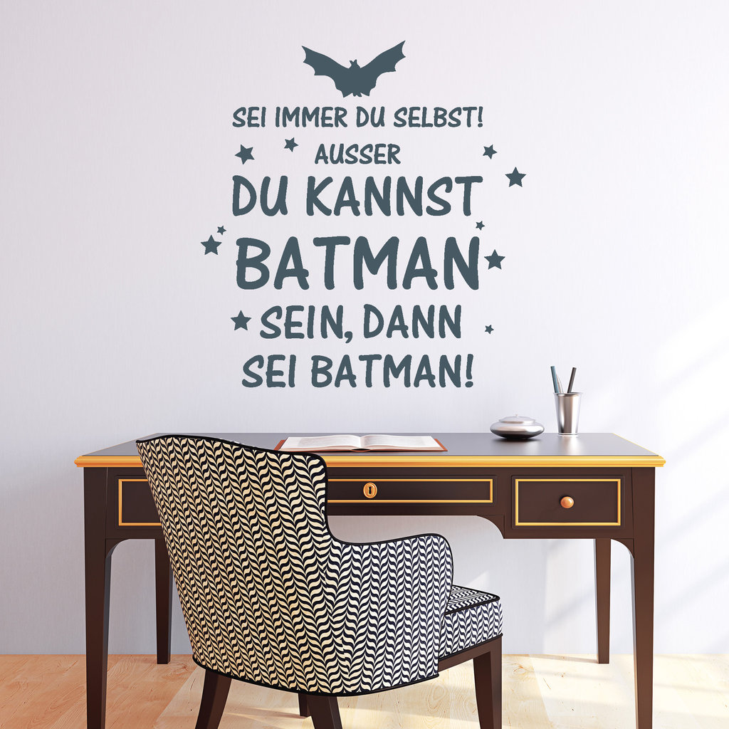 lustiger batman schriftzug wandtattoo. Black Bedroom Furniture Sets. Home Design Ideas