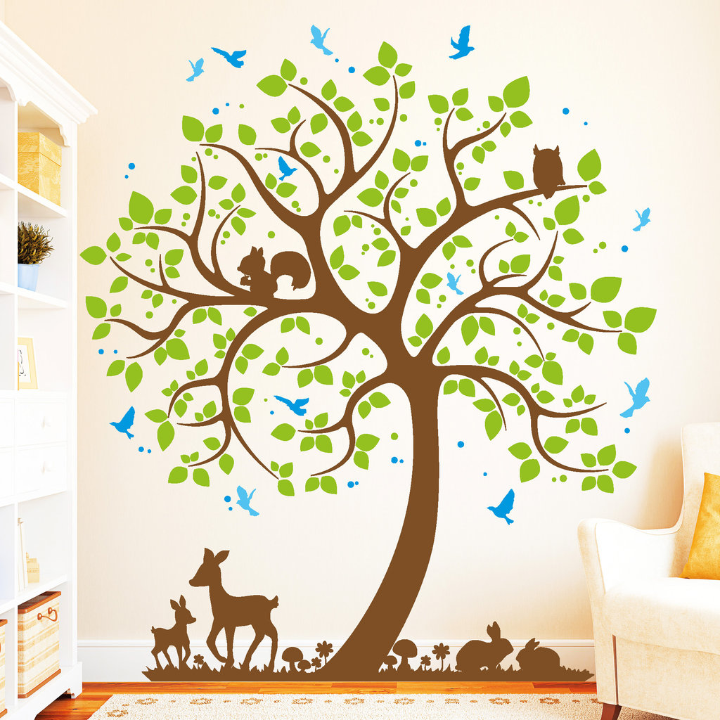 10977 wandtattoo loft baum hase rehkitz vogel 4farbig wandaufkleber owl uhu ebay. Black Bedroom Furniture Sets. Home Design Ideas