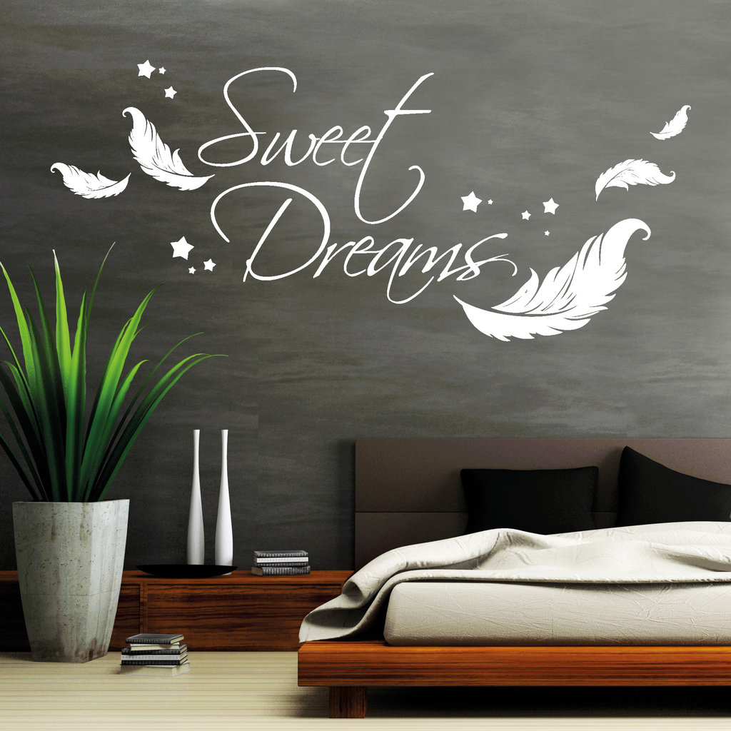 sweet dreams mit federn und sterne wandtattoos loft. Black Bedroom Furniture Sets. Home Design Ideas