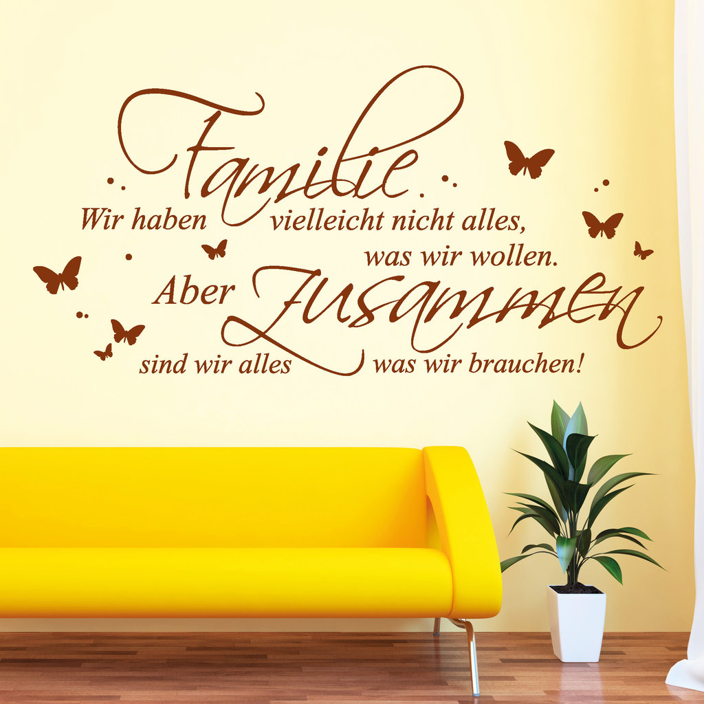 schriftzug familie alles was wir brauchen wandtattoo. Black Bedroom Furniture Sets. Home Design Ideas
