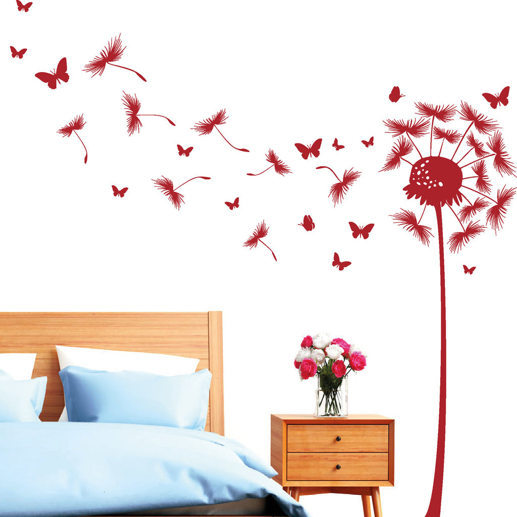 sale pusteblume schmetterling wandbild. Black Bedroom Furniture Sets. Home Design Ideas