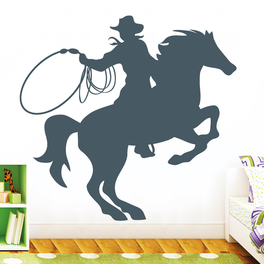 11046 wandtattoo pferd cowboy lasso reiter kinderzimmer. Black Bedroom Furniture Sets. Home Design Ideas