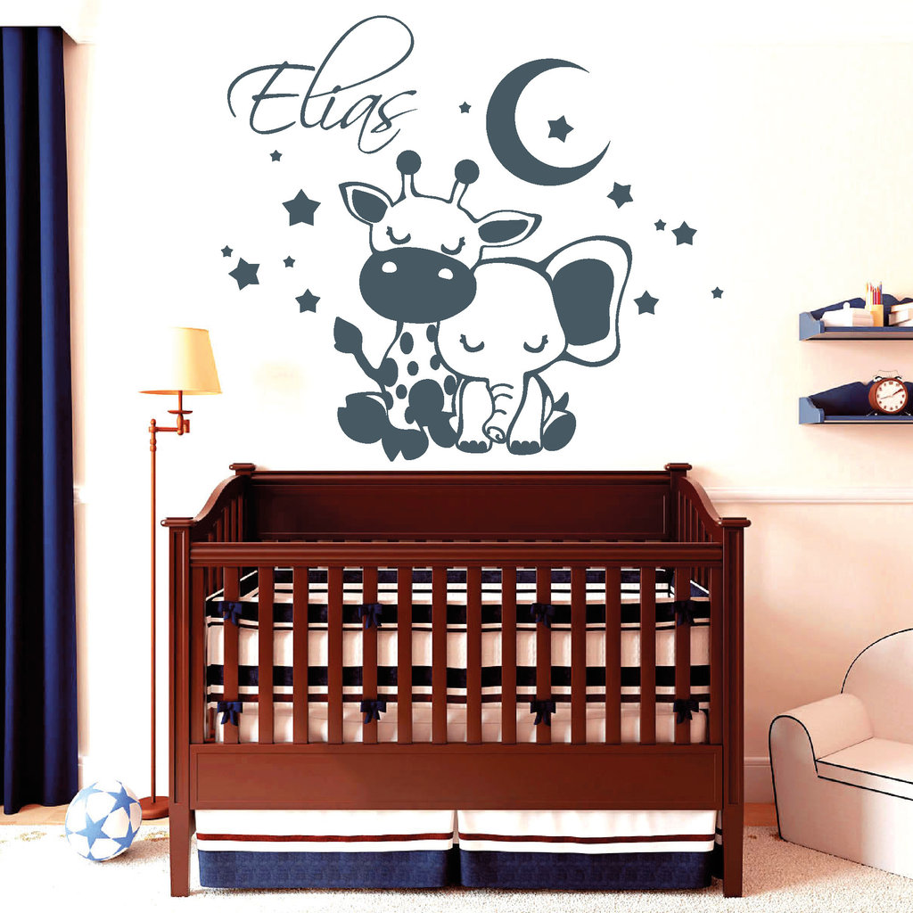 schlafende giraffe und elefant mit wunschname wandtattoo. Black Bedroom Furniture Sets. Home Design Ideas