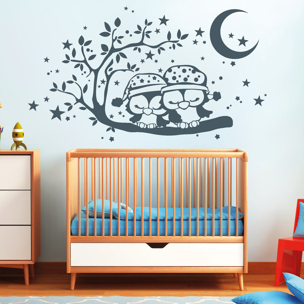 Kinderzimmer baby w nde eule for Kinderzimmer 7 5 m2