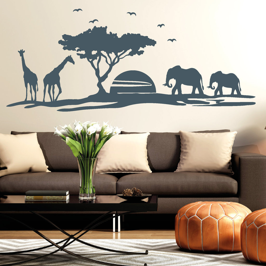 11105 wandtattoo afrika skyline giraffe elefant w ste baum sun sticker aufkleber ebay. Black Bedroom Furniture Sets. Home Design Ideas