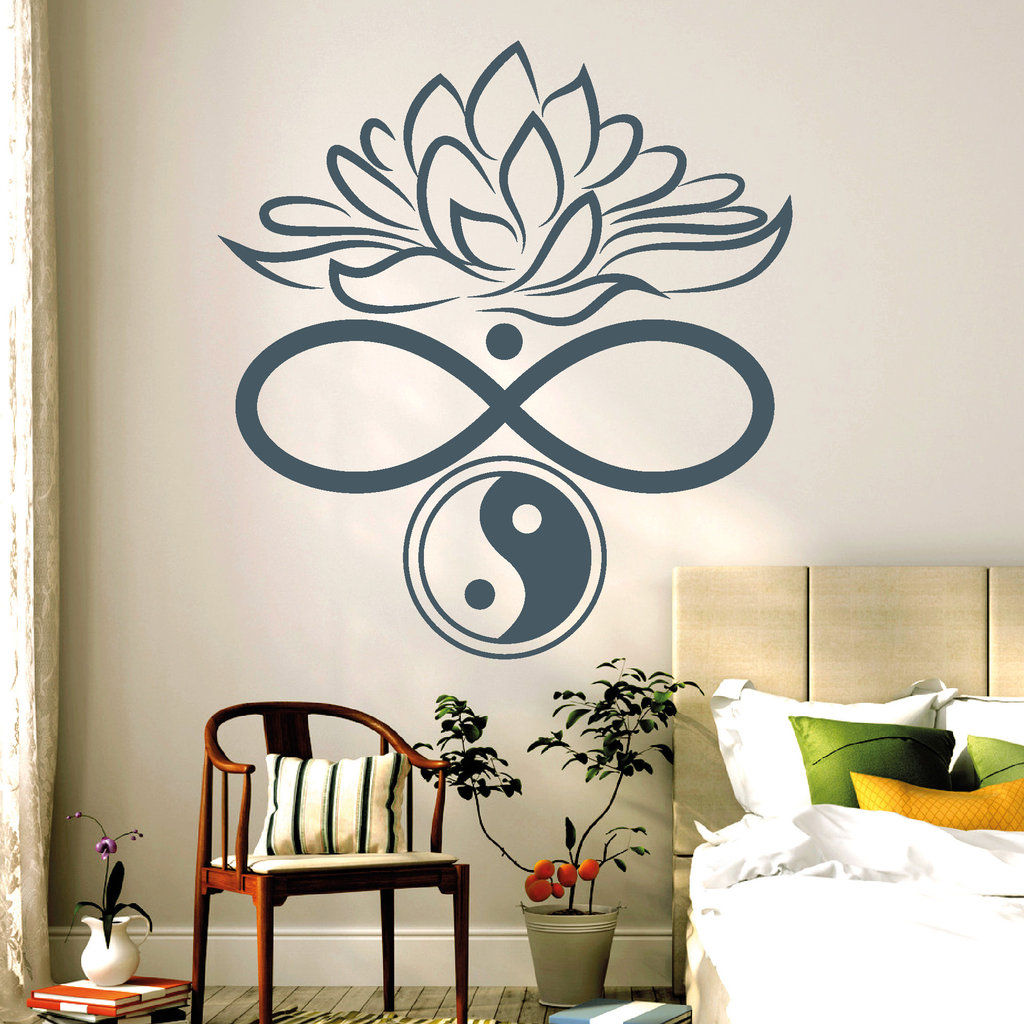 11109 wandtattoo unendlichkeit lotus blume yin yang symbole sticker aufkleber ebay. Black Bedroom Furniture Sets. Home Design Ideas
