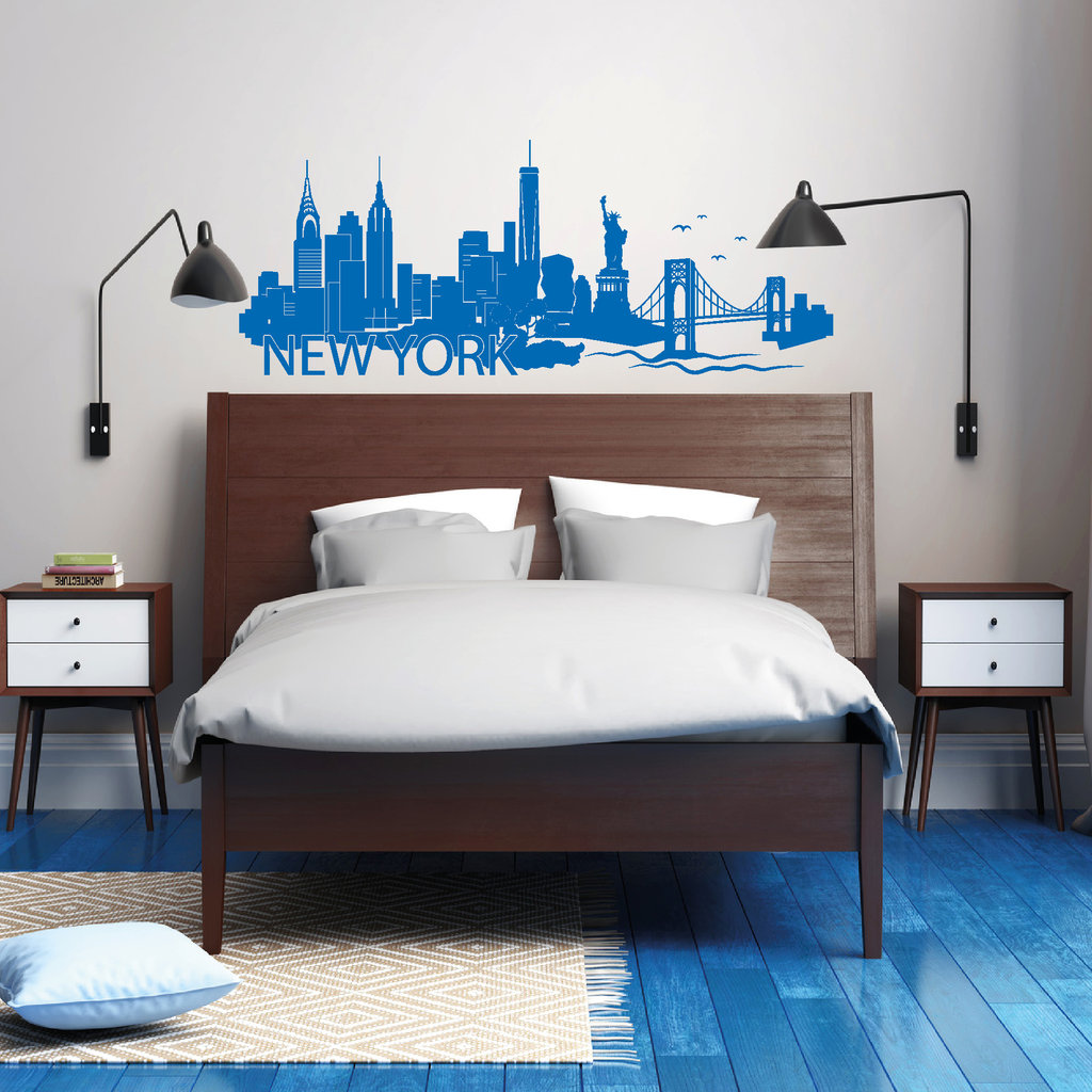 new york skyline wandtattoo. Black Bedroom Furniture Sets. Home Design Ideas
