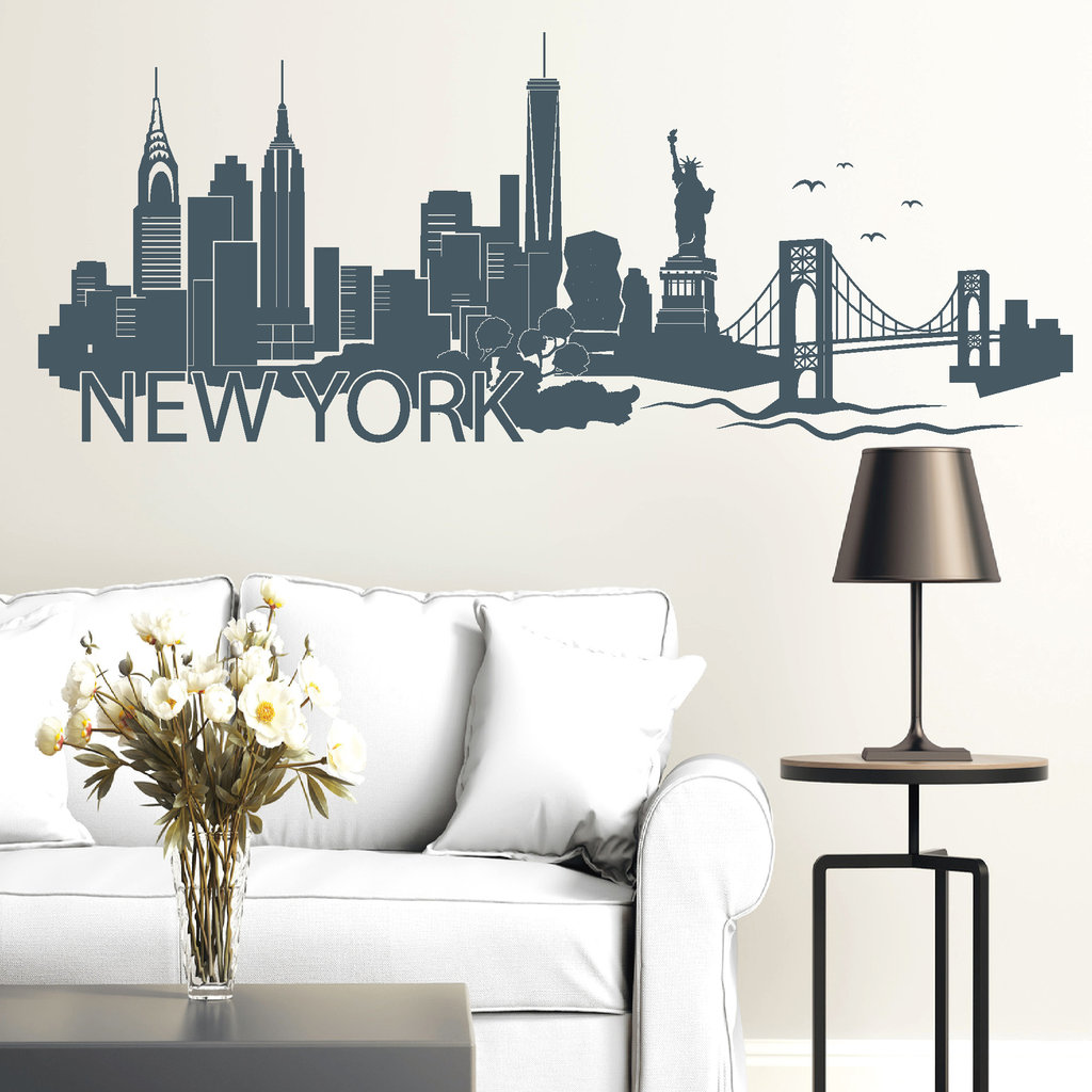 11131 wandtattoo skyline new yorker mit schriftzug usa amerika america umriss ebay. Black Bedroom Furniture Sets. Home Design Ideas