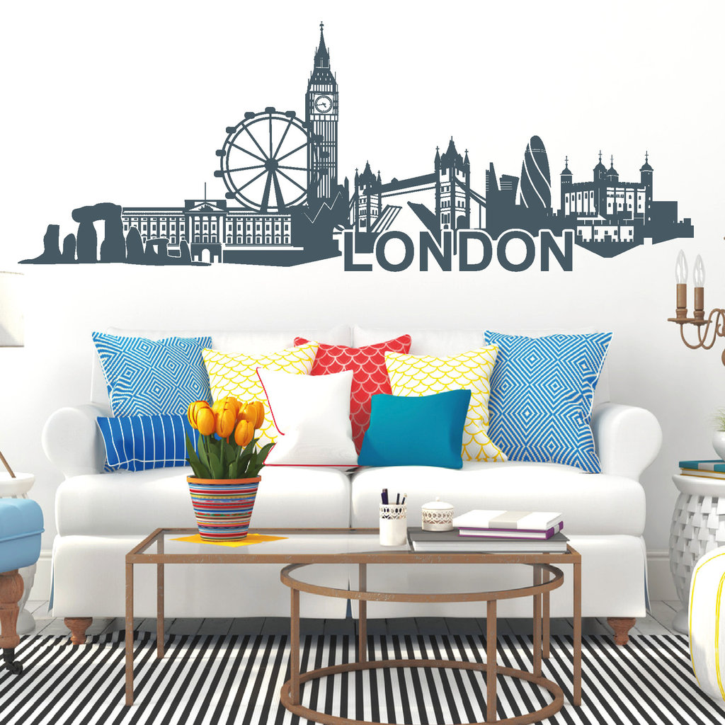 11128 wandtattoo skyline von london mit london eye tower of london stonehenge uk ebay. Black Bedroom Furniture Sets. Home Design Ideas