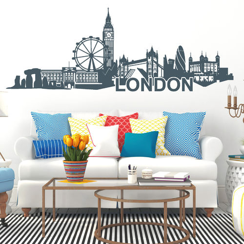skylines wandtattoo loft wandsticker. Black Bedroom Furniture Sets. Home Design Ideas