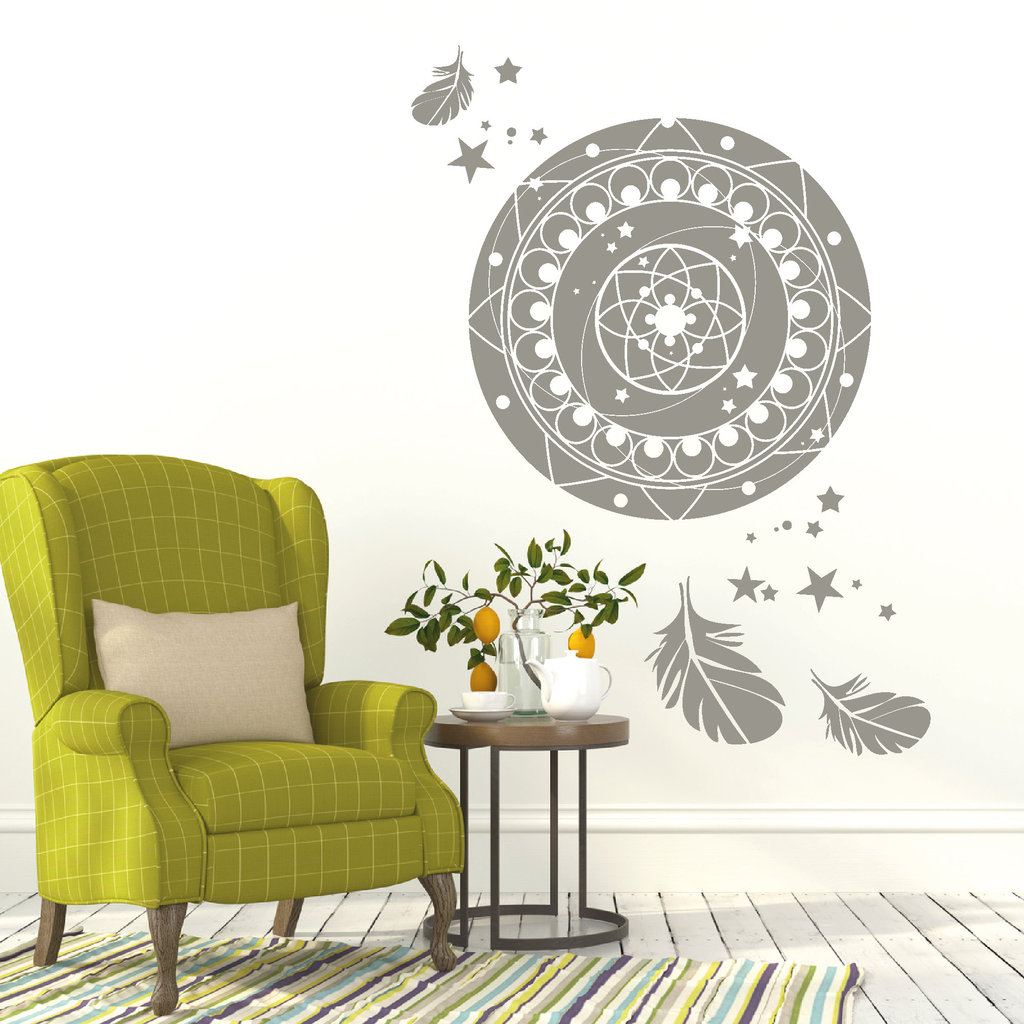 mandala mit sternen und federn wandtattoo. Black Bedroom Furniture Sets. Home Design Ideas