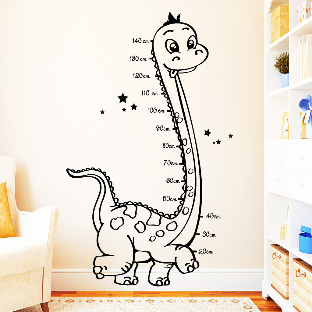 dinosaurier messlatte wandtattoo. Black Bedroom Furniture Sets. Home Design Ideas