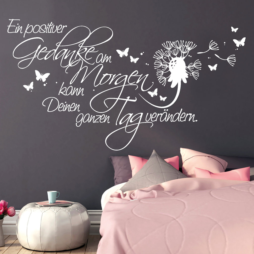 11146 wandtattoo schriftzug positive gedanken schmetterling pusteblume aufkleber ebay. Black Bedroom Furniture Sets. Home Design Ideas