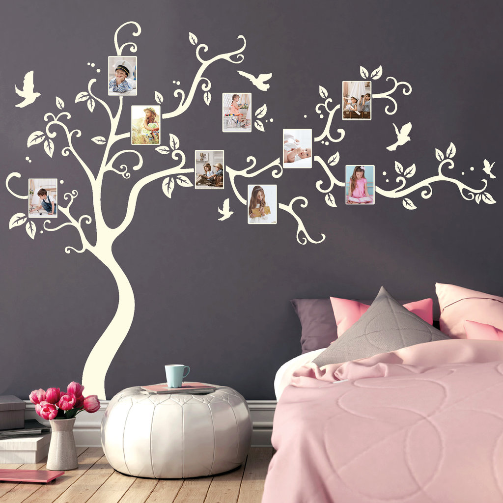 11150 wandtattoo baum bilderrahmen fotos bl tter v gel b umchen familie erinnern ebay. Black Bedroom Furniture Sets. Home Design Ideas