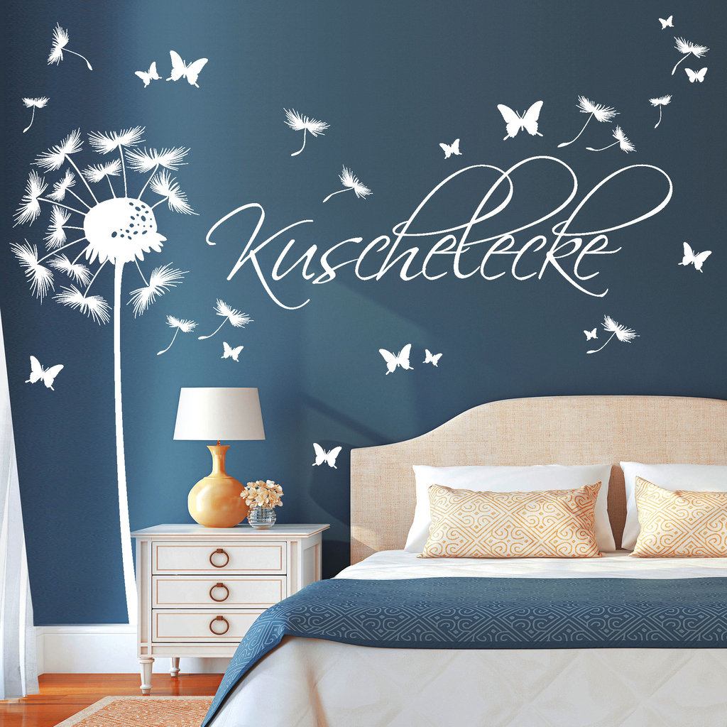 pusteblume schriftzug kuschelecke wandtattoo. Black Bedroom Furniture Sets. Home Design Ideas