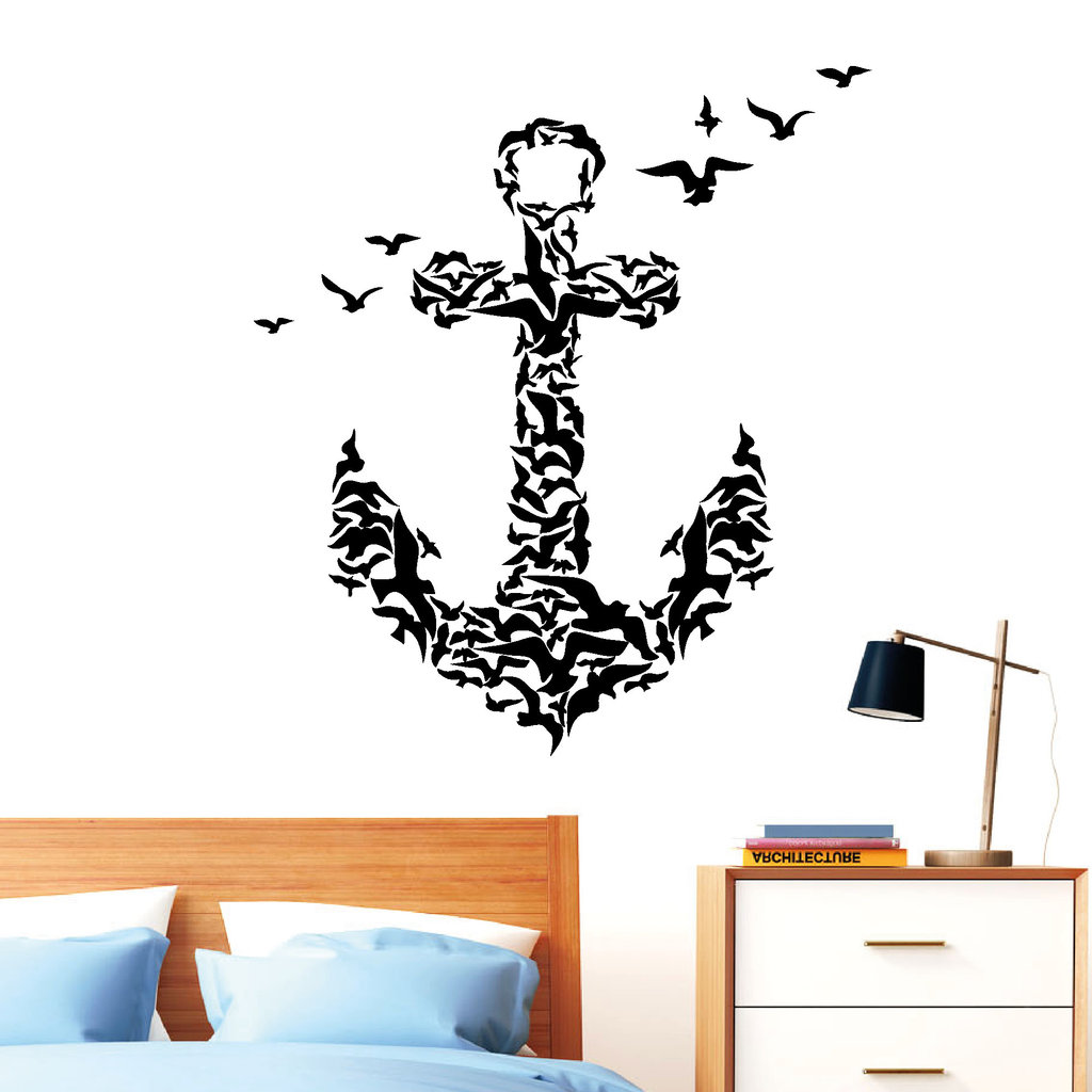 anker aus v geln wandtattoo. Black Bedroom Furniture Sets. Home Design Ideas