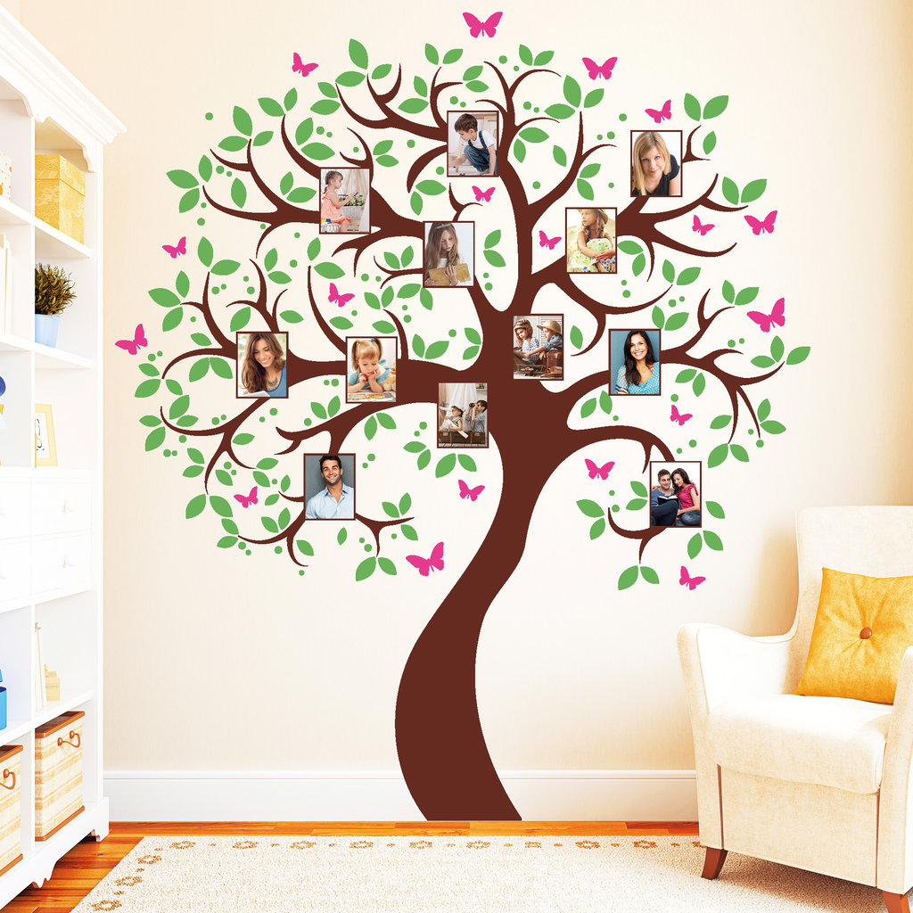11151 wandtattoo baum bilderrahmen fotos 3farbig schmetterlinge bl tter sticker ebay. Black Bedroom Furniture Sets. Home Design Ideas