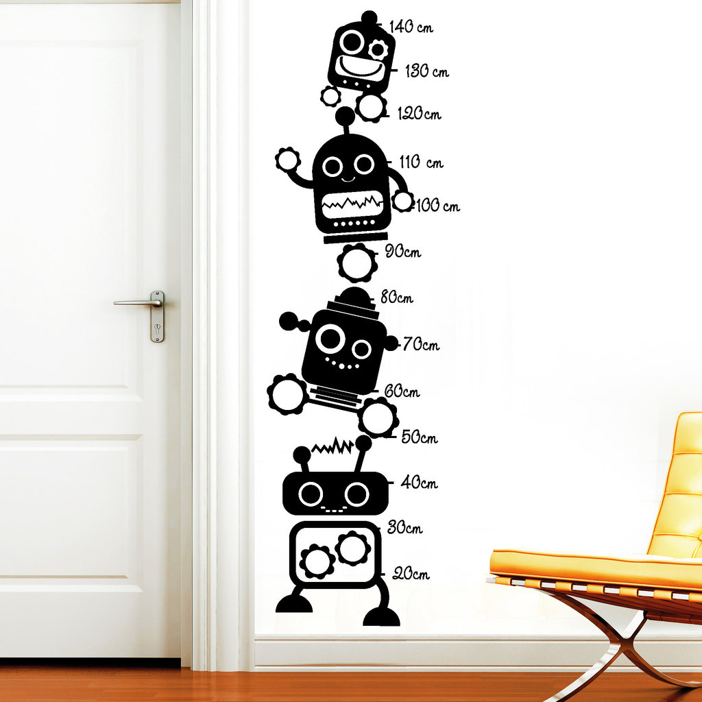 11211 wandtattoo messlatte roboter kinderzimmer jungs. Black Bedroom Furniture Sets. Home Design Ideas