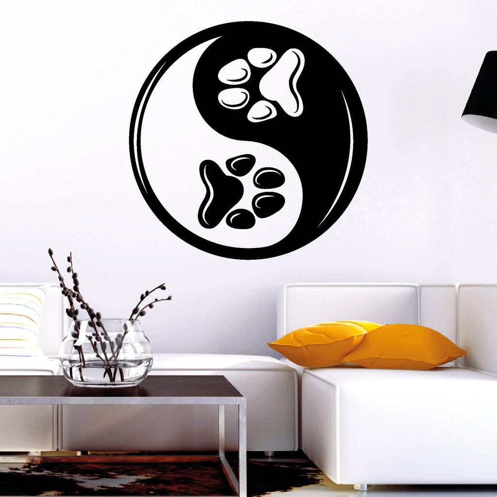 11197 wandtattoo katzen pfoten yin yang tier haustier cat pet sticker aufkleber ebay. Black Bedroom Furniture Sets. Home Design Ideas