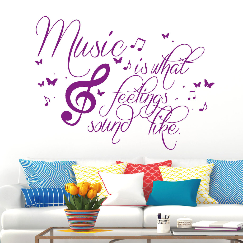 music is what feelings sound like wandtattoo. Black Bedroom Furniture Sets. Home Design Ideas